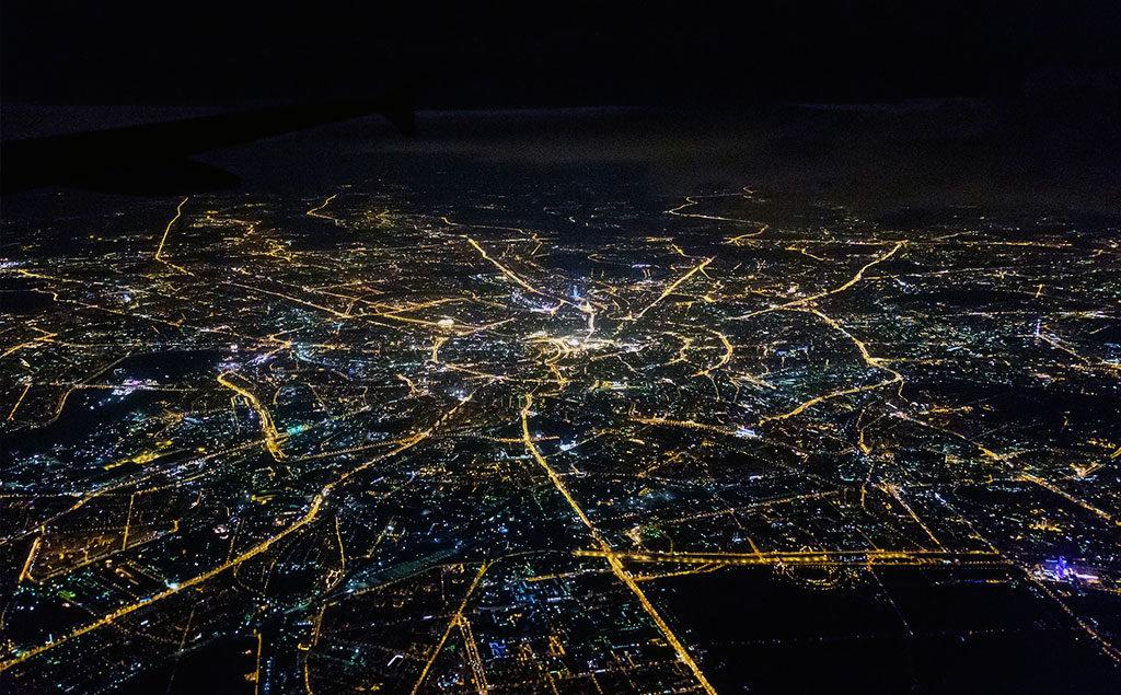 Aus dem Flugzeug über Moskau