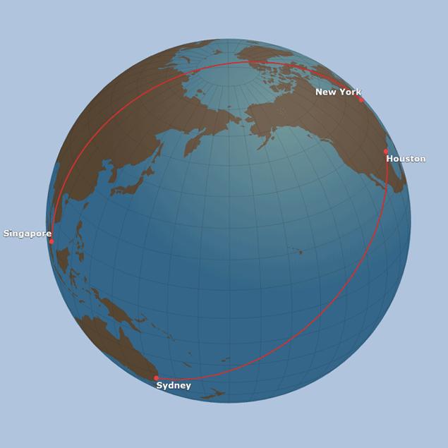 Großkreis SQ22 und UA101