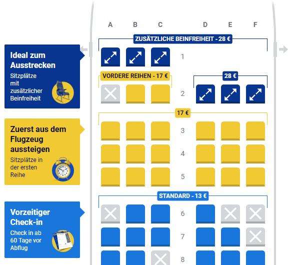 Platzauswahl bei Ryanair Buchung
