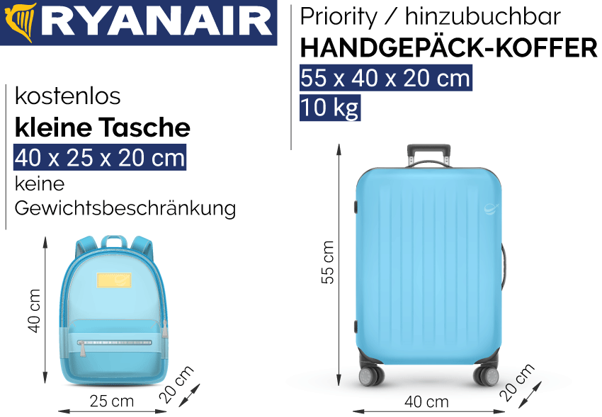 Ryanair Handgepäck Maße Kosten 2