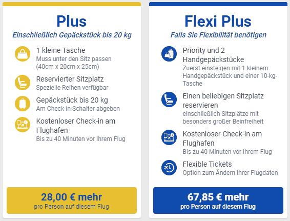 Ryanair Tarifauswahl 2