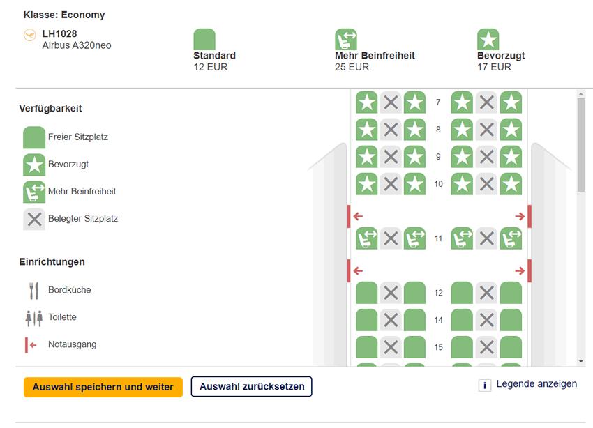 Sitzplatzwahl bei der Lufthansa Kurzstrecke