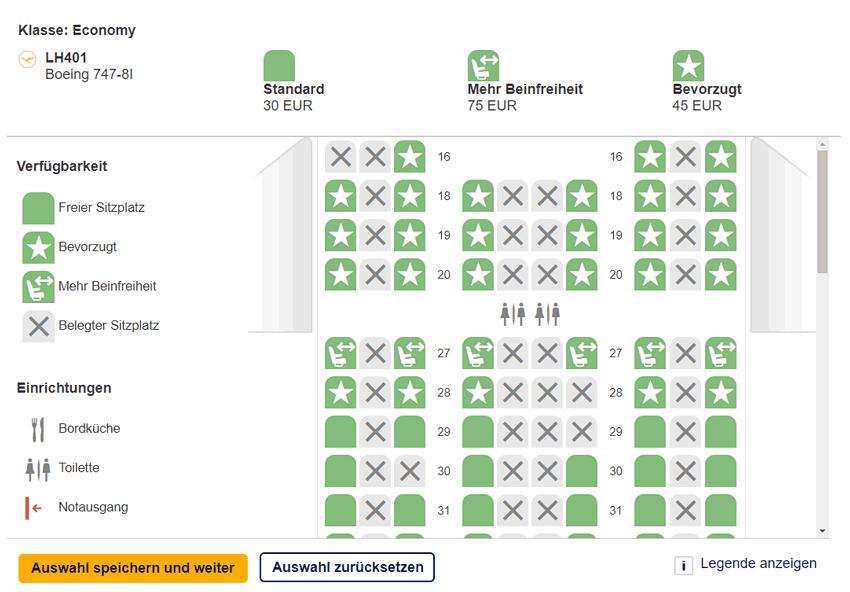 Sitzplatzwahl bei der Lufthansa Langstrecke