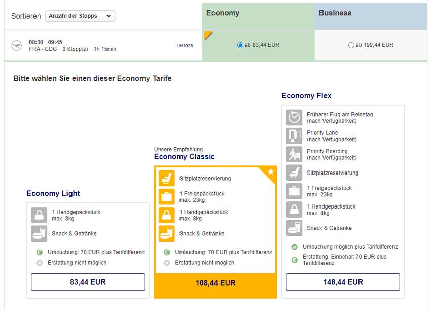 Tarifauswahl bei der Lufthansa Kurzstrecke