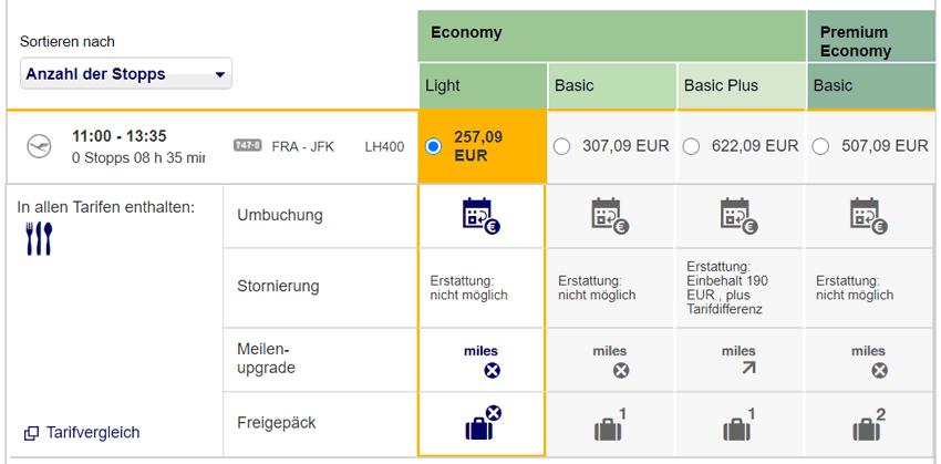 Tarifauswahl bei der Lufthansa Langstrecke