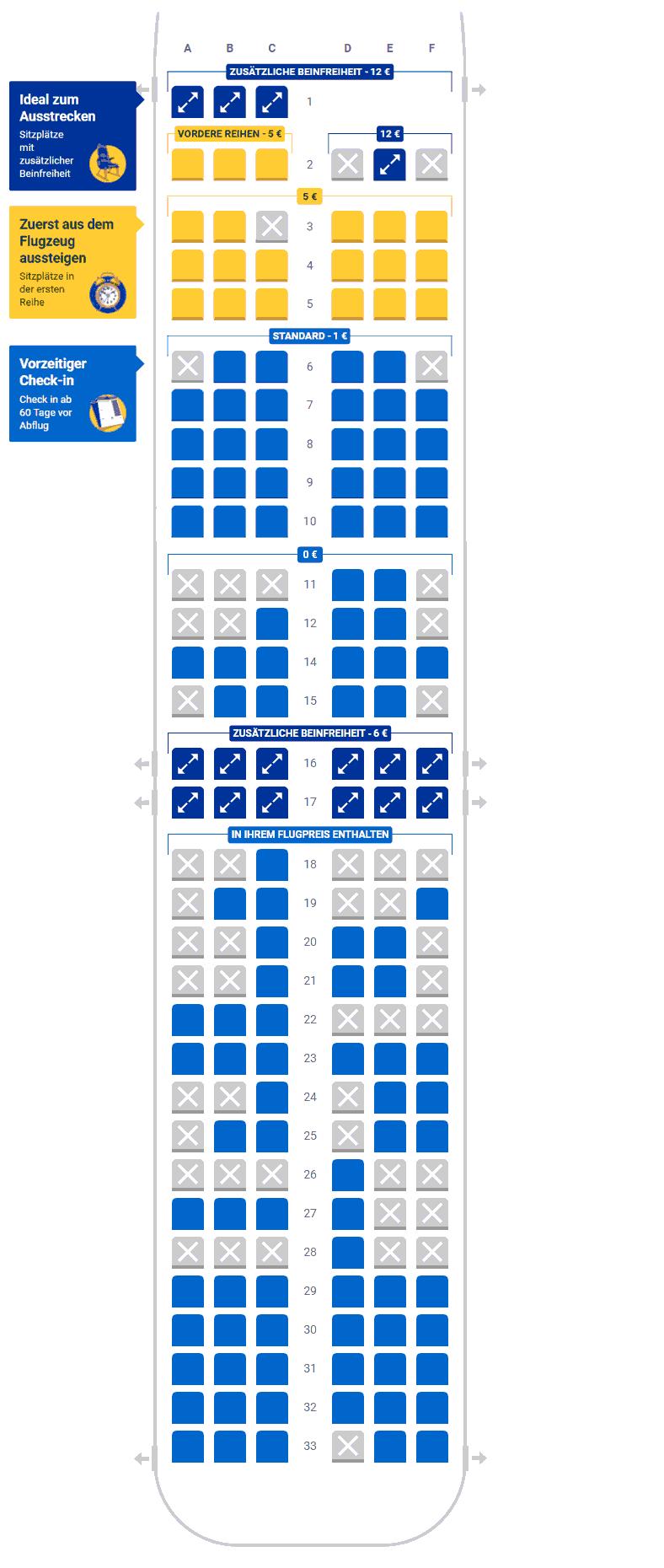 Sitzplatzwahl bei Ryanair